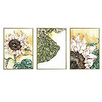 モダン抽象ピンクひまわり黄色のポスターとプリント花と葉のキャンバス絵画ホームグリーン植物壁アート家の装飾40x60cmx3フレームなし
