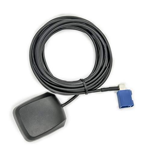 Vecys Fakra Antena GPS 1575,42 MHz Adaptador Fakra C en ángulo Recto con 3 m GPS para Coche Antena Fakra Base Magnética para Vehículos Motor Sistema Navegación GPS Receptor GPS DVR para Coche