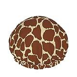 Gorro de ducha de piel de jirafa para mujeres Gorro de ducha impermeable y reutilizable para mujeres Forro de Peva Diseño de gran tamañ