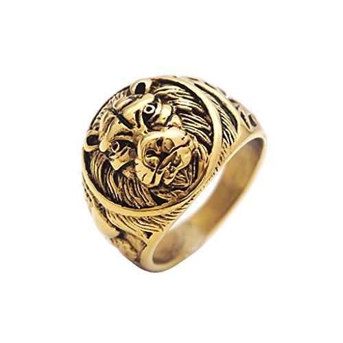Bonarty Anillo de León de Oro Vintage Anillos de Cabeza de León de Acero Inoxidable Tamaño de EE. UU. 7 8 9 10 11 12 13 - Tamaño 13