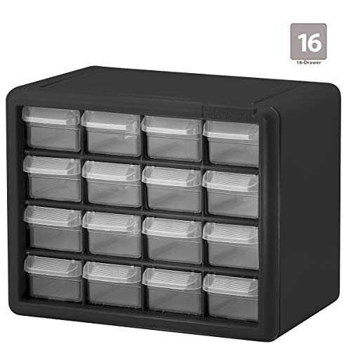 Akro-Mils 16 Drawer 10116, Plastic Parts Storage Hardware and Craft Cabinet, (10-1/2-Inch x 8-1/2-Inch x 6-1/2-Inch), Black (1-Pack)