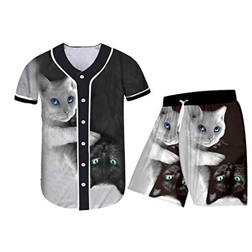 3D schwarz-weiße Katze 2-teiliges Set Reißverschluss Hoodies Anzüge Herren Damen Sweatshirt Jogging-Set Gr. Small, Bjsh01510.