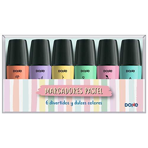 Pack de mini marcadores fluorescentes tonos pastel - Dohe - (6 uds)