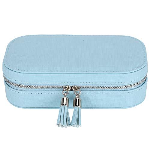 OIHODFHB Caja de joyería portátil azul cierre de cremallera pendientes anillo exhibición organizador bolsa de almacenamiento