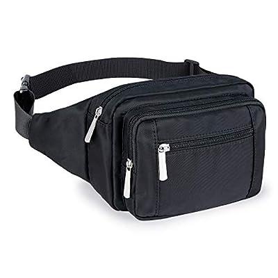 Fanny Packs for Women Men, Fashion Waist Pack Bags with 4 Zipper Pockets Adjustable Belts, Casual Bum Belt Bag for Travel Hiking Concert Running