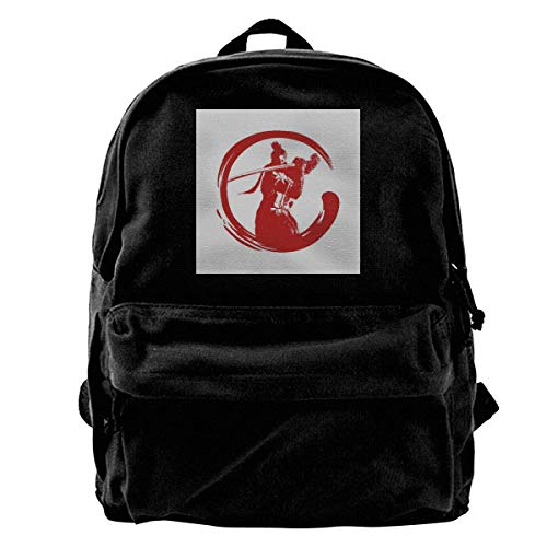 zhanghaichangT Canvas Mochila Sekiro Shadows Die Twice Shenobi Enso Blood Rucksack Gym Hiking Laptop Shoulder Bag Daypack for Men Women