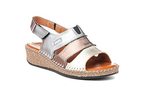 Sandalia Mujer de Piel Fabricados en España. Disponible Desde la Talla 36 hasta la Talla 41 - Finita Shoes Modelo F868 Color Beige,Marino y Bronce.