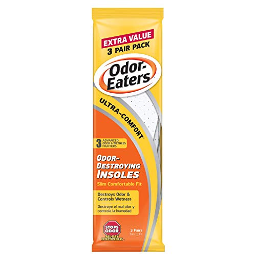 Odor-Eaters Ultra Comfort Odor-Destroying Insoles, One Size Fits All, Extra Value Pack, 3 Pairs per Pack, (Pack of 3)