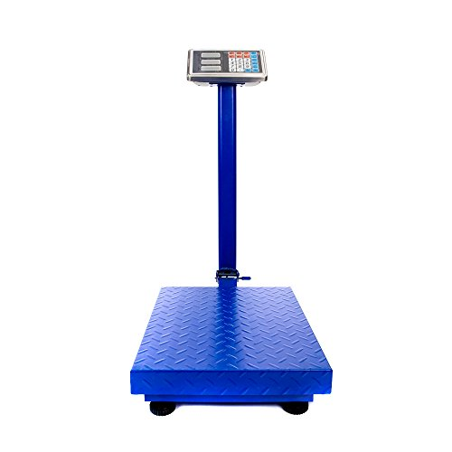 Platform Scale, 300KG/661lb Heavy Duty Electronic LCD Digital Floor Postal Scale Weight Scale Folding Shipping Luggage Package Scale Blue