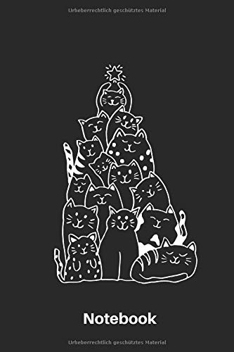 Notebook: Notizbuch   Journal   Handlettering   Tagebuch  110 Linierte Seiten   ca. A 5   Weihnachten I Weihnachtsbaum I Katzen I Katzen I Merry ... Accessoires I Katzen Buch I Katzen Liebhaber
