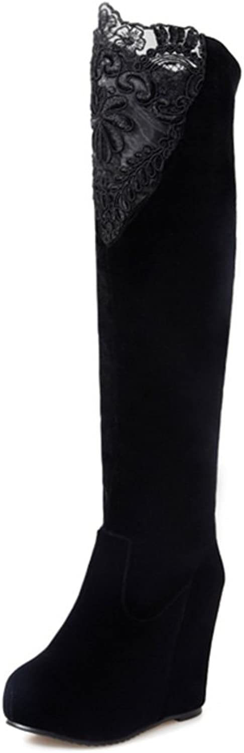 RHFDVGDS sexy ladies boots in the autumn Wedges boots skinny legs over the knee boots Long lace and wool boots