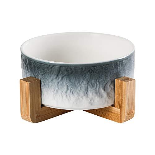 HCHLQLZ Blau Keramik Hundenapf Futternapf Fressnapf Napf für Hund Katzen mit Massivholz Ständer
