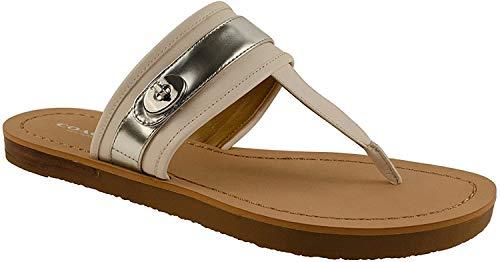 COACH Women's Eileen Thong Sandals Shoes - Chalk/Bright Silver (6)