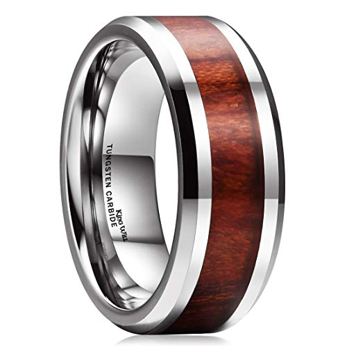 King Will NATURE 8mm Real Wood Tungsten Carbide Ring High Polished Wedding Band Comfort Fit(11.5)