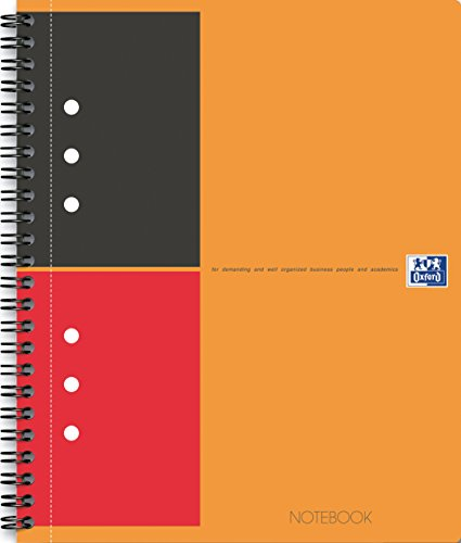 Oxford 100104036 - International Notebook, A4+, liniert, 80 Blatt, stabiler Kartondeckel, orange