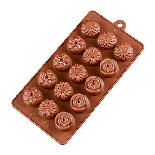 15 Cavity Flower DIY Jelly Ice Mold Gummy Candy Floral Silicone Chocolate Bakplaat