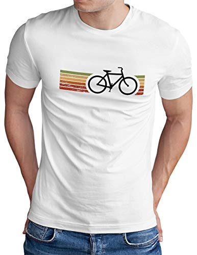 OM3® Retro Bicycle T-Shirt | Herren | Cycling Cyclist Biking Fahrrad Radfahrer | Weiß, L