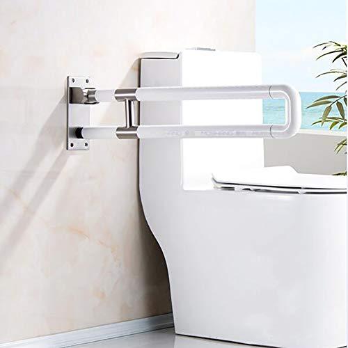 WLKQ Steunklapgreep, geschikt voor de toilet, opklapbaar, robuust en solide afgewerkt, opstahulp seniorenvriendelijk, wandmontage in de badkamer, wit