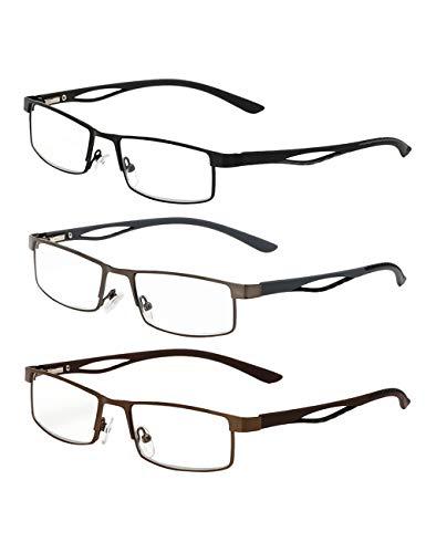 3-Pack Halve Rand Leesbril Duidelijke Visie Brillen - Klassiek Ontwerp Computer Lezers met Beschermen Ogen Lens