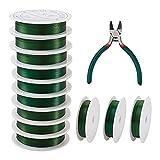 Cheriswelry - Alambre de hierro para manualidades, 3 rollos de 3 tamaños, flexible, con alambre con alicates para joyería, herramientas para arreglos florales, para manualidades, jardín, verde oscuro