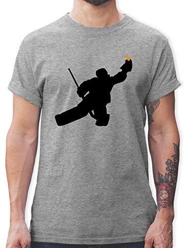 Eishockey - Towart Eishockey Eishockeytorwart - M - Grau meliert - Ice Hockey Trikot - L190 - Tshirt Herren und Männer T-Shirts