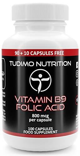 Vitamina B9 Acido Folico 800 mcg Capsulas - 100 Cápsulas (3+ Meses de provisión) de Desintegración Rápida, con 800mcg de Vit B9 Polvo de Ácido Fólico Puro (Folic Acid Supplement)