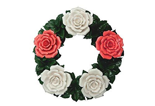Grabdekoration - Blumenkranz Keramik - rot-weiß - Hausdeko - Gartendeko - Beerdigungsblumen – Grabschmuck – Trauerschmuck – Trauerkranz - Friedhofsdekoration – Wetterfest