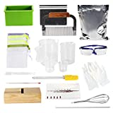 Nicole Complete DIY Soap Making Supplies Kit- 20 Pieces Full Beginners Set Including Silicone Mold, Planer Wood Box, Soap Base, Spatulas, Pipette and More