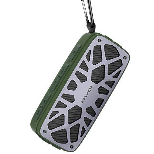 ZNMJW Altavoz Bluetooth portátil para exteriores, tarjeta inalámbrica doble, estereofón manos libres, radio-verde