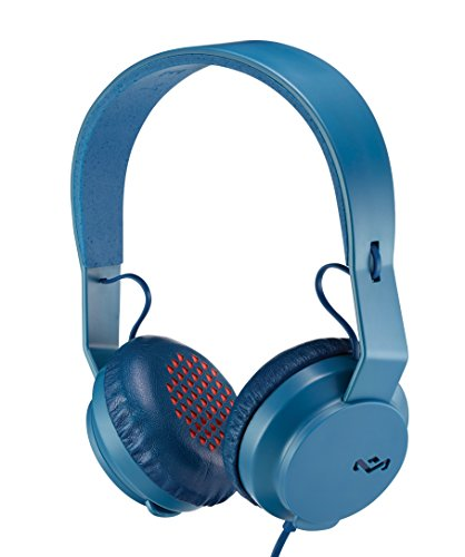 House of Marley, Rebel On-Ear Wired Headphones - In-line Microphone with 1-button Remote, Single Sided Cable, Powerful 40mm Driver, Competitive Acoustic Performance, EM-FH041-Navy