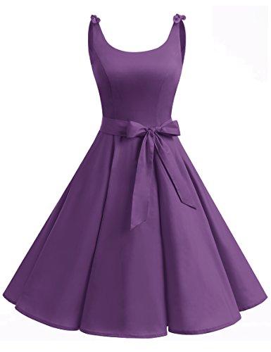 Bbonlinedress Vestidos de 1950 Estampado Vintage Retro Cóctel Rockabilly con Lazo Purple 3XL