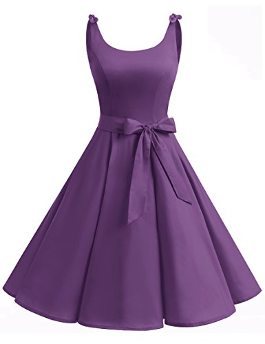 Bbonlinedress 1950er Vintage Polka Dots Pinup Retro Rockabilly Kleid Cocktailkleider Purple S