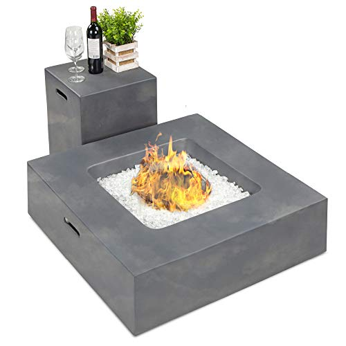 Best Choice Products 35x35-inch 40,000 BTU Square Propane Fire Pit Table for Backyard, Poolside w/Gas Tank Storage Side Table, Weather-Resistant Pit Cover, Glass Rocks - Distressed Gray