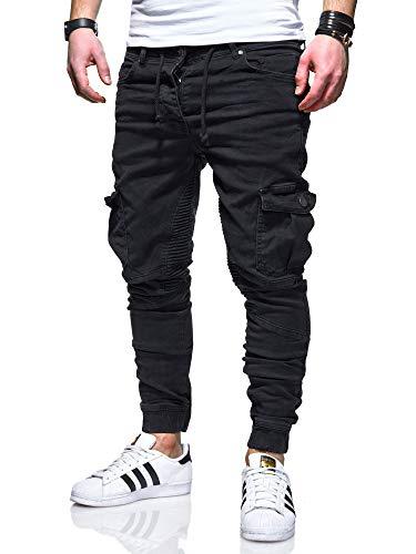 behype. Herren Cargo-Jeans Jogger-Jeans Biker Jeans-Hose 80-2370 Schwarz W36