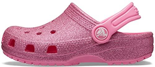 Crocs Kids' Classic Glitter Clog | Glitter Shoes for Girls | Slip On Shoes, Pink Lemonade, J5 US Big Kid