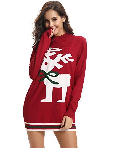 Aibrou Jersey Suéter de Navidad Mujer,Jerséis de Punto Ciervo y muñeco de...