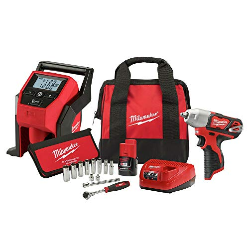 Milwaukee 2463-21RS M12 3/8 in. Impact Wrench w/Inflator & Socket Set New 3pcs