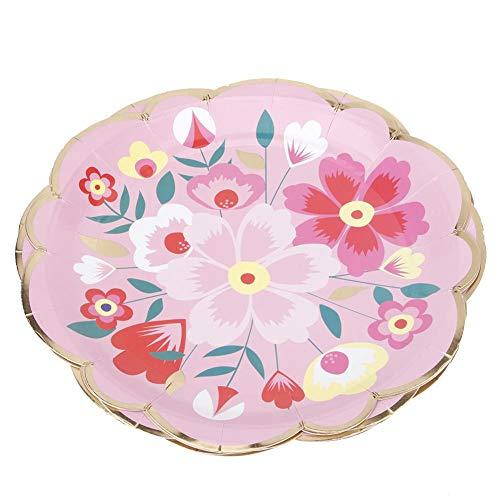Atyhao Einweg-Pappteller, 8 Stück Haushaltsküche Einweg-Papiergeschirr Pappteller Geburtstagsfeierzubehör Blumen-Pappteller Klein, Einweg