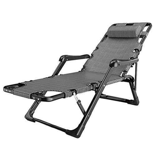 ZHJYD Liege Klappliegestuhl mit Kopfstütze Garten Sonnenliege Stuhl Outdoor-Camping-Bett Sessel Sunbed Patio Lounge Recliners Strand Angeln Stuhl (Color : Gray)