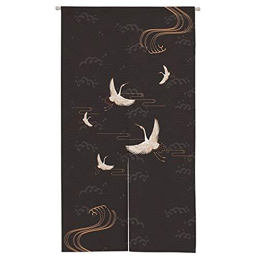 Ofat Home Design - Cortina para Puerta con diseño de grúa Japonesa de Lino y algodón de 85 x 150 cm para decoración del hogar, Much