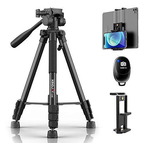 KINGJOY Stativ Kamera 150cm Aluminium Handy Stativ Tragfähigkeit 5KG Kompakt Leichtes Stativ mit Bluetooth-Fernbedienung und 2 in 1 Clip für Kamera Handy und ipad
