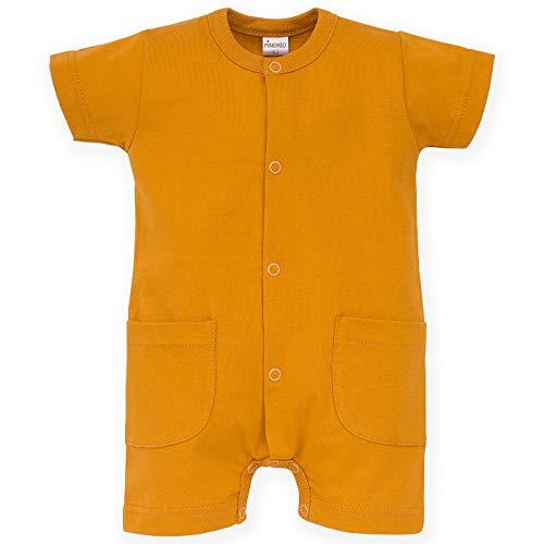 Pinokio - Summer Nice Day – Grenouillère avec boutons 100 % coton manches courtes été bébé enfant unisexe garçon fille jaune 56-74 cm - Jaune - S