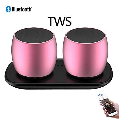 Speaker-EJOYDUTY TWS Mini Bluetooth-luidspreker voor mobiele telefoon, met superieure stereogeluid, IPX5 waterbestendig, 8-uur speeltijd perfect, draagbare mini-luidspreker, roze