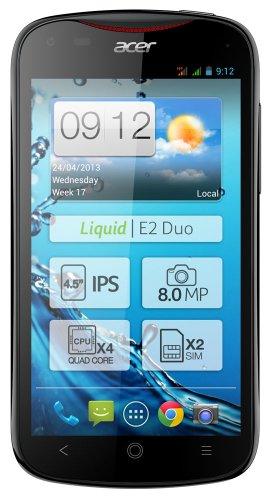 Acer Liquid E2 Duo 11,4 cm (4,5 Zoll) Smartphone (Touchscreen, Dual-Sim, 1,2GHz Quadcore Prozessor, 1GB RAM, 8 Megapixel Kamera, Android 4.2) schwarz