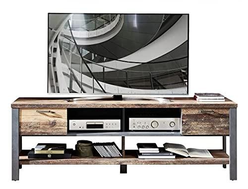SomProduct - Cómoda para TV en paleta con 2 cajones, color marrón y grafito, 189 x 50 x 58 cm