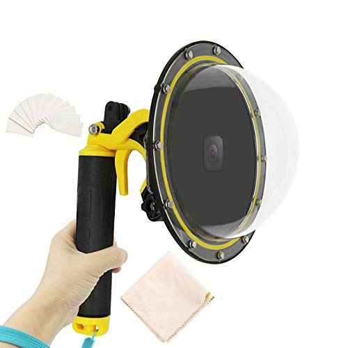"""Gurmoir Telesin Dome Lens 6"""" Dome Port for Gopro Hero 8 Black Action Cameras Snorkeling Underwater Diving Dome with Waterproof Housing Case Trigger and Soft Rubber Floating"""