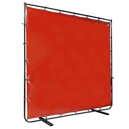 VIZ-PRO Red Vinyl Welding Curtain/Welding Screen With Frame, 8' x 6'
