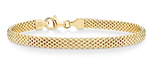 Miabella 18K Gold Over Sterling Silver Italian 5mm Mesh Link Chain Bracelet for Women 6.5, 7, 7.5, 8 Inch 925 Made in Italy (6.5 Inches (5.5'-5.75' wrist size))