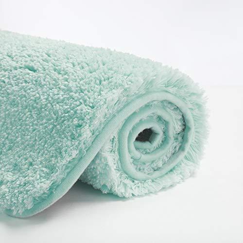 Suchtale Large Bathroom Rug Extra Soft and Absorbent Shaggy Bathroom Mat (24 x 40, Aqua) Machine Washable Microfiber Bath Mat for Bathroom, Non Slip Bath Mat, Luxury Bathroom Floor Mats Rubber Back
