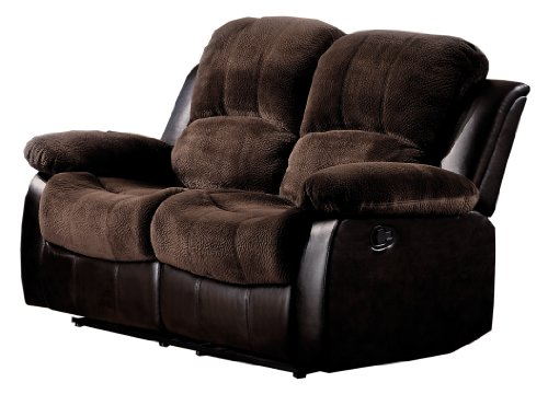 Homelegance Resonance 60' Microfiber Double Reclining Loveseat, Dark Brown